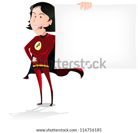 Super Hero Woman Banner/ Illustration of a cool cartoon seducing super woman hero holding an advertisement sign