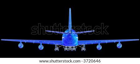 Super high resolution Boeing 747 blueprint rendering. - stock photo