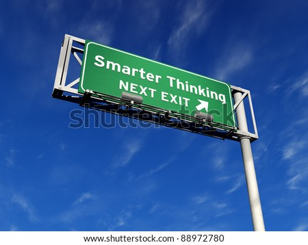 Super high resolution 3D render of freeway sign, next exit... Smarter Thinking! - stock photo