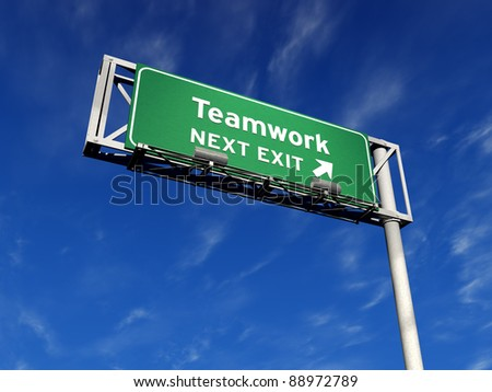 Super high resolution 3D render of freeway sign, next exit... Teamwork!