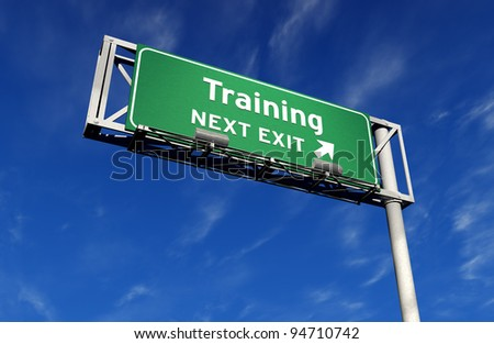 Super high resolution 3D render of freeway sign, next exit... Training! - stock photo