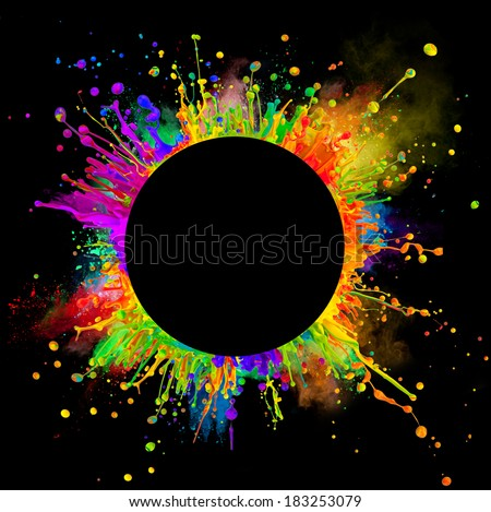 """Super macro shot of colored paint splashes and powder """"dancing"""" on sound waves. In rounded shape with free space for text. Isolated on black background - stock photo"""