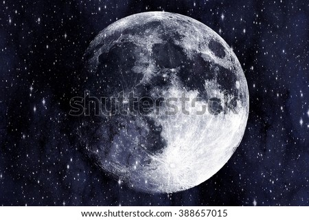 Super moon in the galaxy background - stock photo