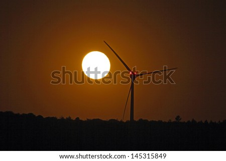 Super moon rising on 22 june 2013 in Portugal - stock photo