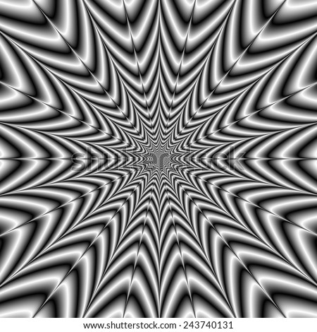 Super Nova in Black and White / A digital abstract fractal image with an exploding star design in black and white. - stock photo