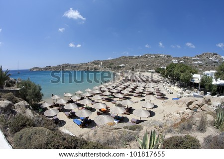 Super paradise beach, Mykonos island, Greece - stock photo