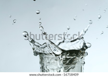 super splash in glass on white background