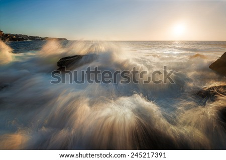super splash seascape - stock photo