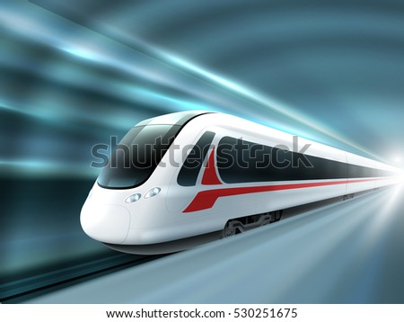 Super streamlined high speed train station tunnel with motion light effect background realistic poster print  illustration