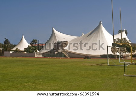 Super Tents - The steel tent athletic facility at the University of La Verne in Southern & Super Tents Steel Tent Athletic Facility Stock Photo 66391594 ...
