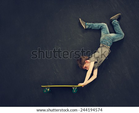 Super trick skateboarder.