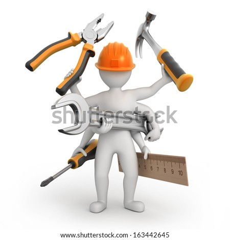 super universal repairman, image with a work path - stock photo