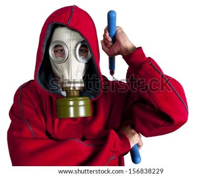 Super Villain / Super Hero wearing a gas mask costume for Halloween - stock photo