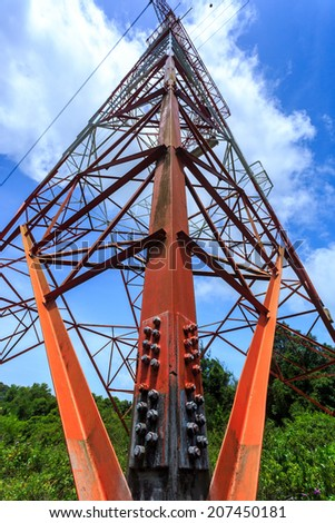Super wide angle photograph of Electricity pylon with blue sky - stock photo