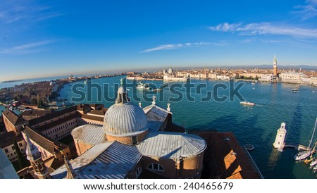 Super wide panoramic view of Venice from San Giorgio Maggiore church, Italy - stock photo