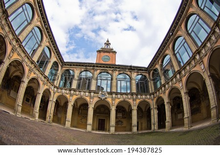 Super wide view of old library building, city of Bologna, province Emilia-Romagna, Italy - stock photo