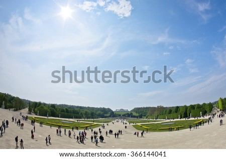 Super wide view of Schenbrunn park and palace in Vienna, Austria - stock photo