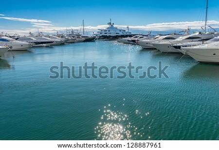 Super Yachts moored at Puerto Banus Harbor near Marbella Andalusia Spain - stock photo