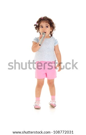 Superb little girl with tails in a white t-shirt - stock photo