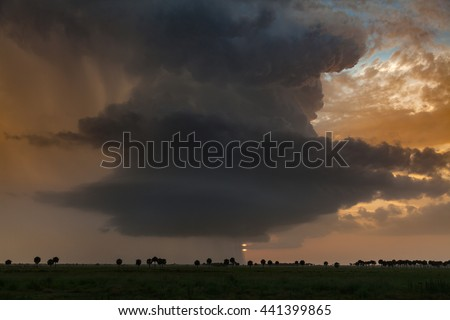 Supercell thunderstorm hovers over the tropical wetlands of the Florida Everglades at sunset. - stock photo