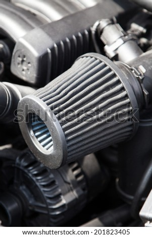 Supercharged sportcar engine - under the hood - stock photo