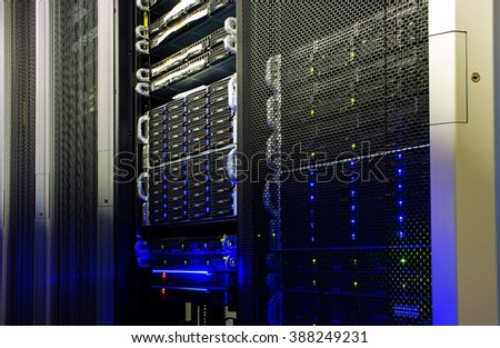 supercomputer disk storage in data center - stock photo