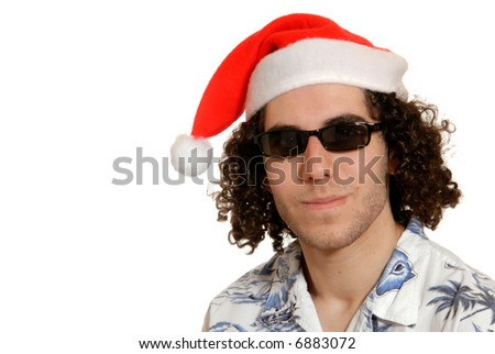 supercool young man in santa hat & shades - isolated on white - stock photo