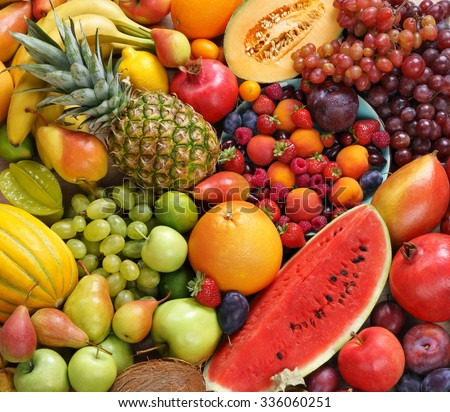 Superfood background. Only Fruit / food photography of ripe fruits at the market. Copy spacy for your text. High resolution product - stock photo