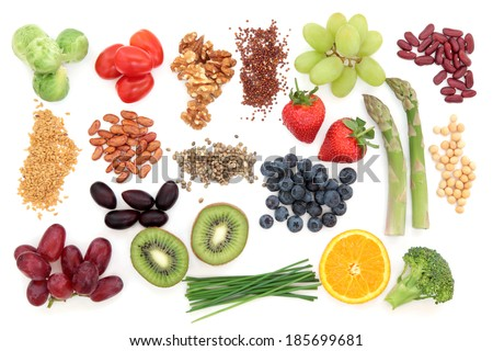 Superfood health food selection over white background. - stock photo