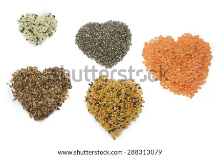superfood hearts isolated on white background - stock photo