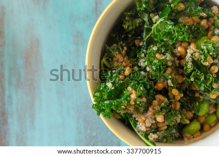 Superfood salad with raw kale, quinoa, blueberries, and barley is perfect for the paleo diet for weight loss. - stock photo