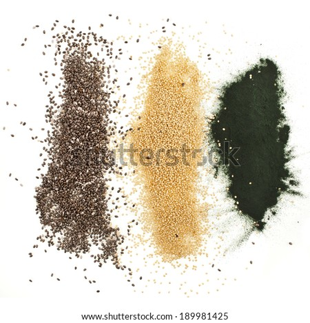 superfoods heap pile collection close up  top view surface  isolated on white background - stock photo