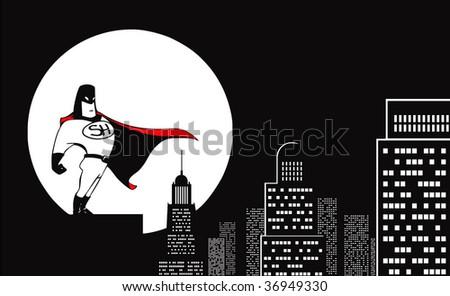 superhero and the moon - stock photo