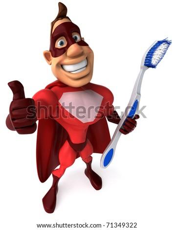 Superhero and toothbrush - stock photo