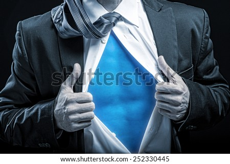 Superhero - apart unbuttoned shirt, blue belly - stock photo