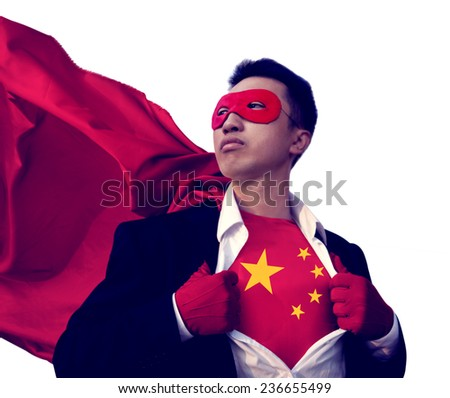 Superhero Businessman Chinese Isolated Concept - stock photo