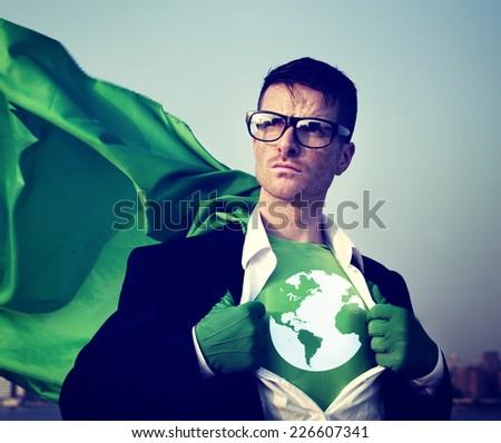 Superhero Businessman Earth Logo Concept - stock photo