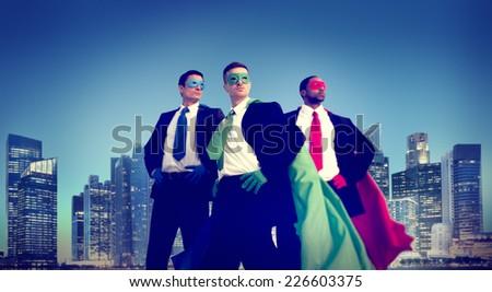 Superhero Businessman New York Concept - stock photo