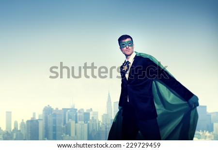 Superhero Businessman New York Concept