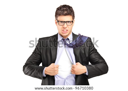Superhero businessman opening blue shirt, blank white t-shirt underneath provides excellent copy space for your image, text or logo - stock photo