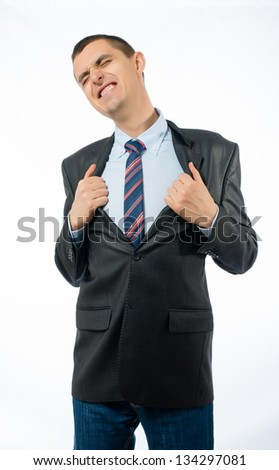Superhero businessman opening  shirt - stock photo