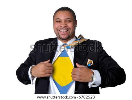 Superhero businessman opening shirt to show his true identity. - stock photo