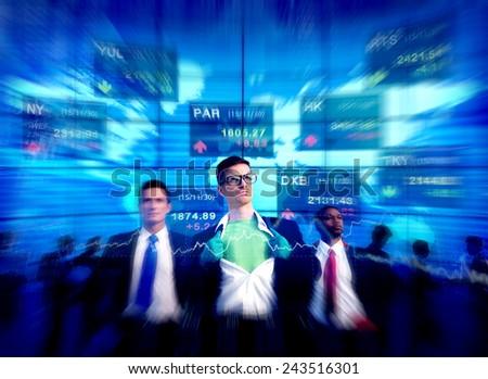 Superhero Businessmen Stock Market Team Concept - stock photo