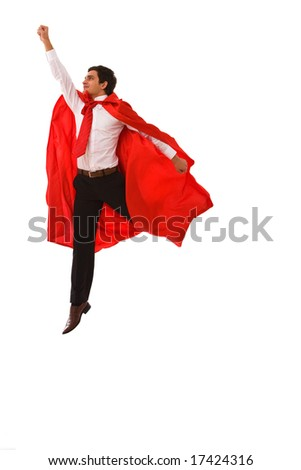 superhero concept for business with a young businessman jumping high - stock photo