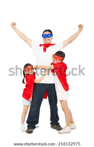 superhero daughters hug father waist. isolated on white background - stock photo
