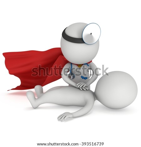 Superhero Doctor doing CPR First Aid. 3d CPR training concept on white background. CPR illustration - stock photo