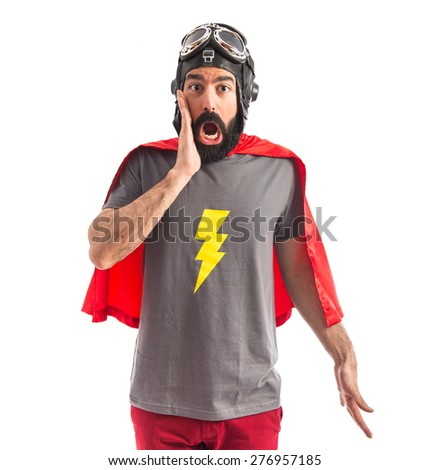 Superhero doing surprise gesture  - stock photo