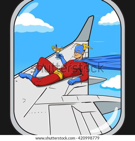 Superhero flying on airplane wing. View from an plane window.  Cartoon pop art raster illustration. Human comic book vintage retro style.  - stock photo