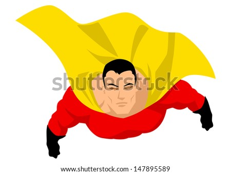 Superhero flying up pose - stock photo