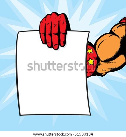 superhero hand holding flyer. - stock photo